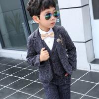 №【2019新款】小朋友穿的儿童西装套装男童礼服钢琴表演服秋加绒洋气小中童马甲三件套