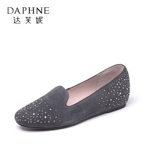 Daphne/达芙妮 秋季水钻浅口单鞋平跟羊皮女鞋