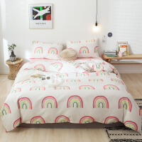ins风北欧小清新纯棉床上用品四件套简约床单全棉宿舍单人三件套被子加被套 一体秋季三件套时尚床上用品 2.0m(6.6