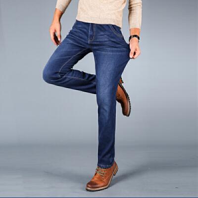 男士牛仔裤加绒加厚款秋冬季中低腰直筒宽松商务男装长裤子轻奢加绒牛仔 保暖 专属定制