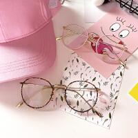 韩国百搭文艺原宿小清新网红细框圆形镜架女复古金属个性平光眼镜