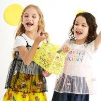 【1件2.5折到手价:37.3】moomoo童装女童短袖t恤新款真两件网纱圆领宝宝儿童装女童夏