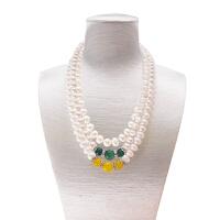 天然淡水珍珠项链送妈妈婆婆礼物925银玛瑙玉髓9-10mm送证书