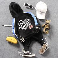 儿童金丝绒连帽运动套装春秋冬款男女童织带拉链开衫外套休闲裤子