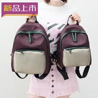 2018女士双肩包新款潮韩版迷你女包小包书包牛津布帆布百搭小背包 紫色--小号 现货