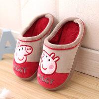 秋冬季新款儿童棉拖鞋大中童室内家居拖鞋1-10岁拖鞋男女 D-21小猪佩奇 深酒红
