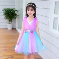 女童纱裙连衣裙夏装新款儿童公主裙中大童洋气裙子女孩彩虹裙
