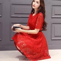 夏季款圆领大码女装红色蕾丝蓬蓬连衣裙显瘦打底敬酒礼服 4X