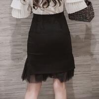 秋冬网纱拼接蕾丝包臀裙鱼尾半身裙女职业裙高腰中短裙子