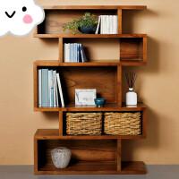 北欧实木书柜创意书架置物架客厅展示架多功能储物柜简约玄关柜
