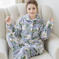 睡衣女秋冬季珊瑚绒家居服套装加厚加绒长袖法兰绒韩版甜美可外穿