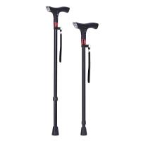 老人智能拐杖多功能带收音机可伸缩防滑四脚手杖轻便拐棍带灯拐杖