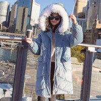 大毛领金丝绒棉衣女冬装新款中长款羽绒韩版棉袄加厚外套