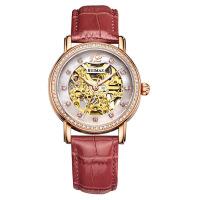 女士手表 时尚真皮镂空全自动机械女腕表 间玫镂空红带