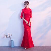 敬酒服新娘春季2018结婚新款红色中式旗袍长袖修身鱼尾走秀礼服女