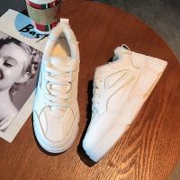 运动鞋女冬2018新款韩版百搭网红小白鞋厚底保暖鞋子松糕加绒板鞋 白色 (加棉)休闲板鞋
