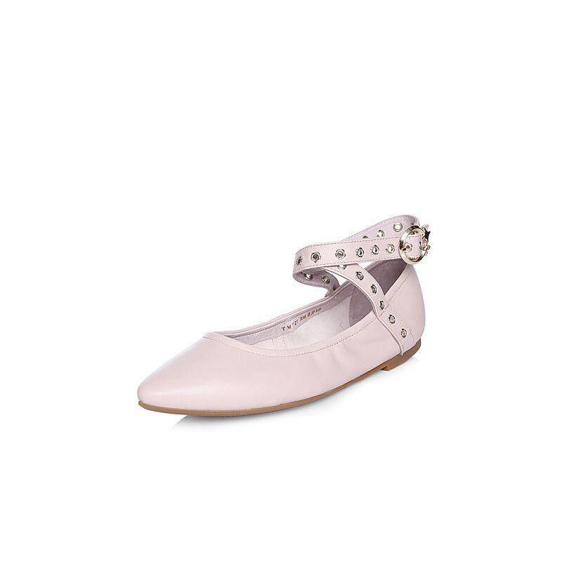 BASTO/百思图2018春季专柜同款羊皮浅口尖头平跟女休闲鞋TM727AQ8