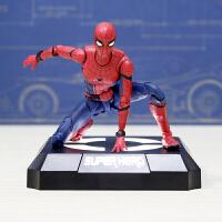 蜘蛛侠英雄归来模型玩具公仔 返校季漫威人偶关节可动 +感应发光底座 送小可乐和支架