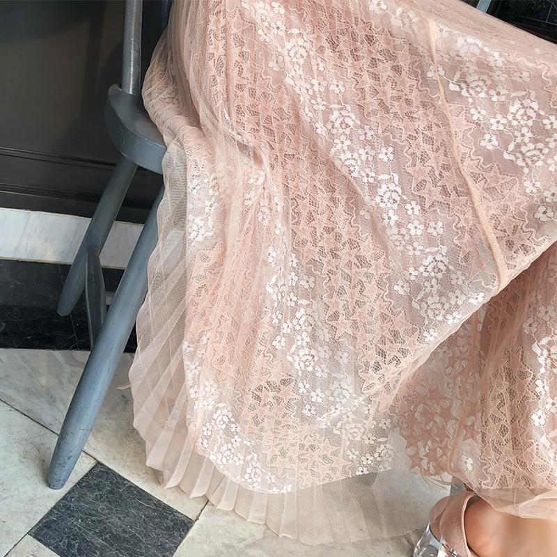 谜秀半身裙女2018夏装新款韩版甜美超仙网纱蕾丝中长款裙子夏季潮