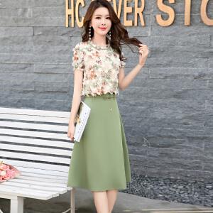 风轩衣度 连衣裙花色圆领中腰套头两件套大摆型2018年夏季短袖中裙系带木耳拼接A型 2361-1603