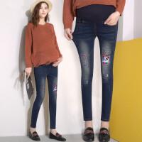 孕妇裤子春季薄款打底裤小脚牛仔裤孕妇春装春秋外穿潮妈