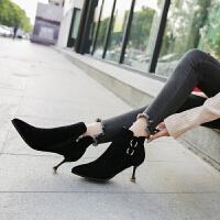 猫跟鞋女2018秋冬新款细跟短靴女高跟尖头裸靴加绒保暖冬靴马丁靴 黑色 单款内里