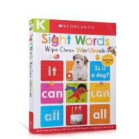 【全店300减110】英文原版Sight Words Wipe Clean Workbook螺旋装帧 低幼启蒙英语单词学