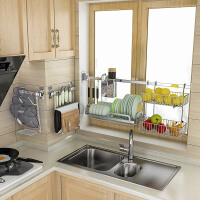 五润厨房置物架壁挂窗户收纳挂件墙上挂架挂杆锅盖架省空间不锈钢3ut