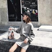 休闲运动服套装女春秋字母2018新款韩版时尚卫衣短裙两件套宽松潮 灰色 均码