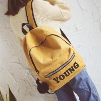 原宿风 帆布双肩包女韩版潮高中学生书包港风个性背包男