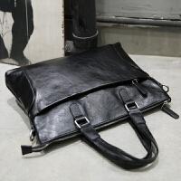 3件7折男包手提包男士单肩斜挎包皮包电脑包横款商务公文包韩版潮流简约 黑色