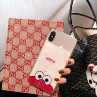 芝麻街玻璃壳苹果x手机壳镜子 max/8plus/7/6s软包边女 苹果xs max 红色芝麻街