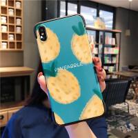 韩风橘子苹果x手机壳xsmax超薄iphone7/8plus无边框xs/xr硬壳6s女 i6/i6s 蓝底无边满屏涂鸦