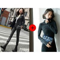 秋冬装新款人字纹羊毛呢chic小西装套装女外套韩版休闲时尚两件套