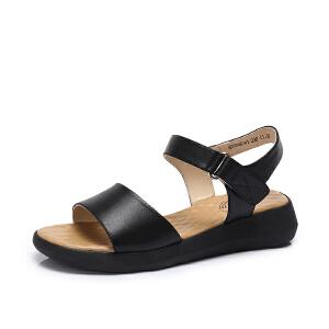 骆驼女鞋 2018夏季新品 真皮凉鞋女平底百搭鞋舒适一字魔术贴凉鞋