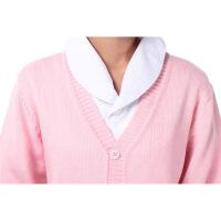 护士毛衣开衫羊毛衫加厚藏蓝色V领护士服毛衣外套白大褂 粉