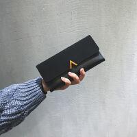 钱包女韩版潮个性长款小清新多功能搭扣日韩复古薄零钱包s6 黑色 赠送运费险