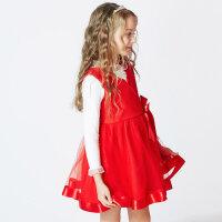 【1件4折到手价:159.6】米喜迪mecity童装女童春款甜美网纱红色连衣裙宴会礼服裙