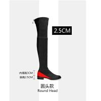 2018秋冬圆头高跟过膝长靴女粗跟系带瘦腿弹力靴高筒靴骑士靴女靴SN0248