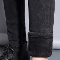 №【2019新款】冬天美女穿的打底裤女外穿加绒高腰2018新款牛仔黑色加长棉裤加厚小脚