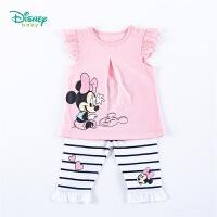 迪士尼Disney童装 女童套装镂空花边短袖纯棉七分裤2件套2020年夏季新品女孩衣服