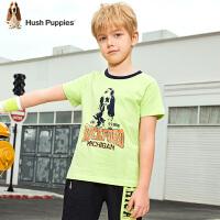 【抢购价:59元】暇步士童装男童短袖T恤夏装新款儿童圆领衫洋气印花上衣半袖