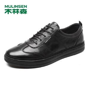 木林森男鞋 2018春季新款时尚休闲鞋牛皮磨砂系带简约鞋子黑色板鞋87051339