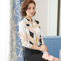 韩版修身长袖立领雪纺衫显瘦2018年春季百搭蕾丝衫女士衬衫 白色