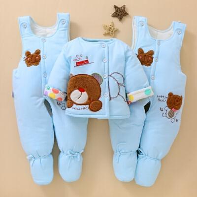 婴儿棉衣套装加厚三件套0新生儿衣服冬季棉袄背带裤宝宝冬装包脚1 双包脚玩具熊 蓝色 发货周期:一般在付款后2-90天左右发货,具体发货时间请以与客服协商的时间为准