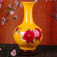 陶瓷落地花瓶家居客厅工艺品装饰摆件中国红牡丹麦秆