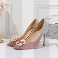 红色婚鞋女2018新款新娘鞋水钻尖头单鞋细跟珍珠扣渐变高跟鞋浅口SN0563 38 【8跟高】