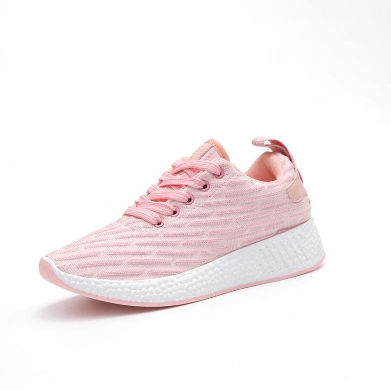 夏秋新款运动鞋女跑步鞋夏季韩版透气百搭女鞋学生鞋子网鞋休闲鞋 粉红色(飞织面料) 飞织面料  走进大自然的怀抱,美丽从这里起步。