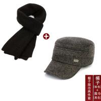 冬季中老年帽子男士冬天老头毛呢平顶老年军帽护耳鸭舌中年老人帽xx (可调节头围)配品牌礼袋