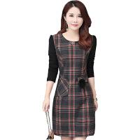 格子毛呢连衣裙2018冬季新款女装韩版显瘦时尚加厚长袖包臀打底裙